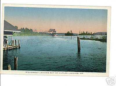 NAPLES ME MAINE STEAMBOAT LEAVING BAY POSTCARD