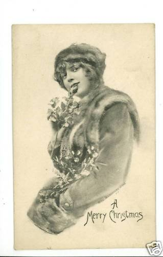 CHRISTMAS WOMAN FLOWERS FURS SCHLESINGER 1912 POSTCARD