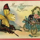 BUTTERFLY FLOWER CART BUTTERFLIES 1909 POSTCARD