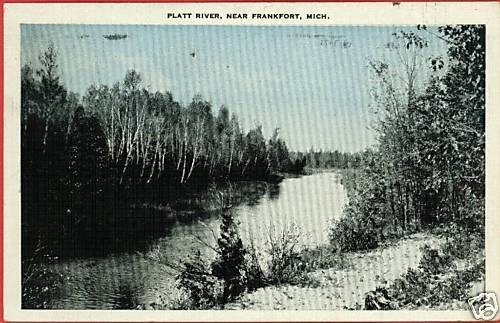 FRANKFORT MICHIGAN PLATT RIVER 1938 POSTCARD