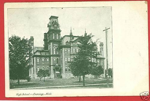 LANSING MICHIGAN HIGH SCHOOL 1909 POSTCARD
