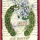 EASTER GREEN HORSESHOE HAPPY EASTER 1908 POSTCARD