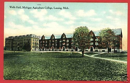 LANSING MICHIGAN WELLS HLL AGRICULTURE COLLEGE POSTCARD
