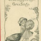 THANKSGIVING GREETINGS GIRL PUMPKINS H LEHMANN POSTCARD