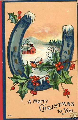 CHRISTMAS BLUE HORSESHOE 1912  POSTCARD