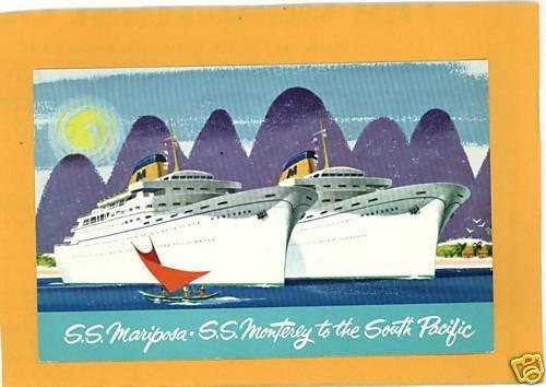 SS MARIPOSA SS MONTEREY SOUTH PACIFIC 1961 POSTCARD