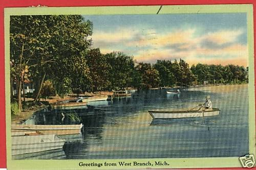 WEST BRANCH MICHIGAN GREETINGS FROM 1941 POSTCARD