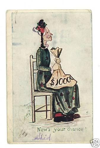 PCK ARTIST SIGNED OLD MAID MONEY 1905  POSTCARD