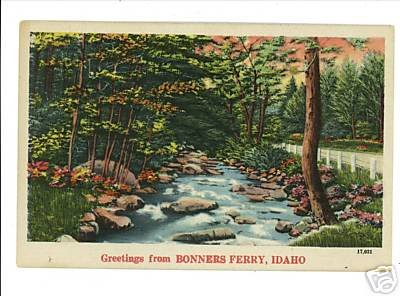 BONNERS FERRY IDAHO GREETINGS FROM POSTCARD