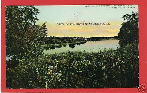 AURORA ILLINOIS FOX RIVER PRATT 1907 POSTCARD