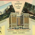 FRESNO CALIFORNIA CA HOTEL CALIFORNIAN 1946 POSTCARD