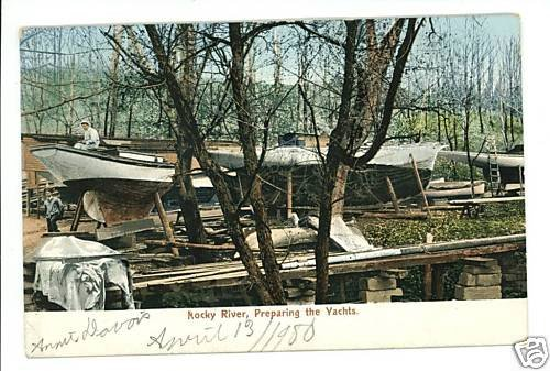 ROCKY RIVER OHIO OH PREPARING YACHTS UND BACK POSTCARD
