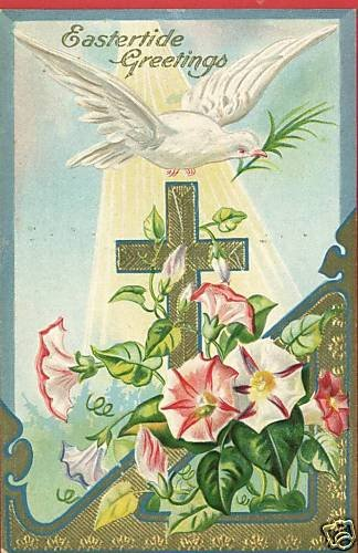 EASTER CROSS DOVE  LILLIES EMBOSSED POSTCARD