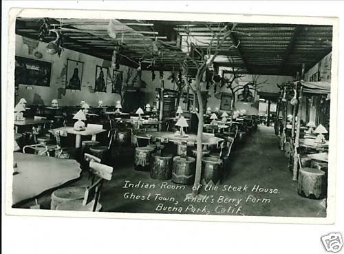 BUENA PARK CALIFORNIA INDIAN ROOM INTERIOR RPPC 1956