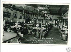BUENA PARK CALIFORNIA INDIAN ROOM INTERIOR RPPC 1956