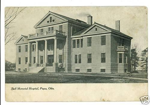 PIQUA OHIO OH BALL MEMORIAL HOSPITAL UND BACK POSTCARD