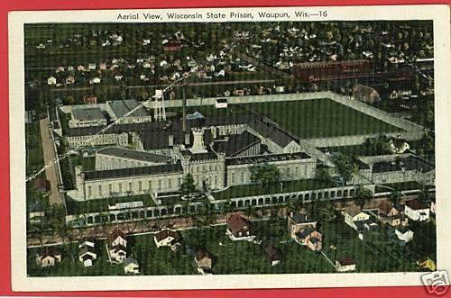 WAUPUN WISCONSIN STATE PRISON AERIAL VIEW 1941 POSTCARD