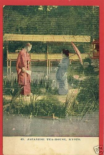 JAPANESE TEA HOUSE KYOTO JAPAN PARASOL POSTCARD