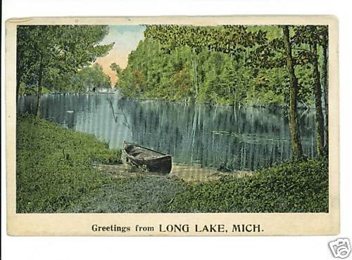 LONG LAKE MICHIGAN GREETINGS FROM CANOE 1923 POSTCARD