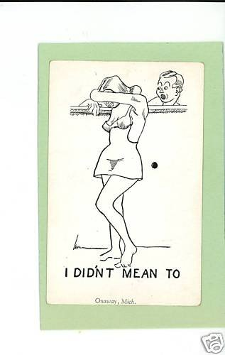 ONAWAY MICHIGAN COMIC RISQUE PEEP HOLE POSTCARD HERBERT