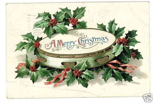 MERRY CHRISTMAS TAMBOURINE 1909 POSTCARD