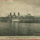 STEAMER WASHINGTON IRVING HUDSON RIVER DAY LNE POSTCARD