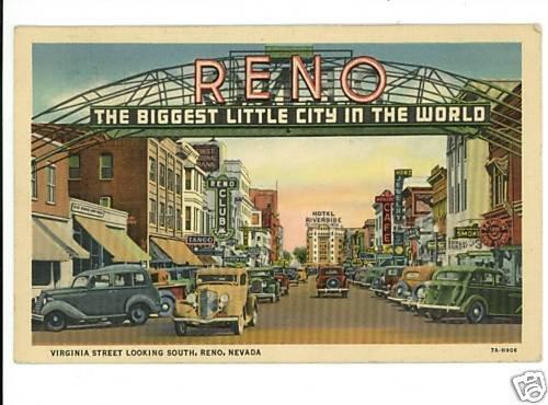 RENO NEVADA NV VIRGINIA STREET CLUB CARS 1934 POSTCARD