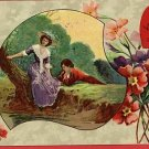VALENTINE'S DAY MESSAGE  POSTCARD COUPLE BY RIVER BANK
