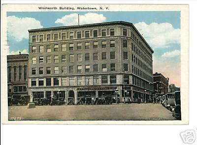 WATERTOWN NEW YORK NY WOOLWORTH BLDG 1933 CARS POSTCARD
