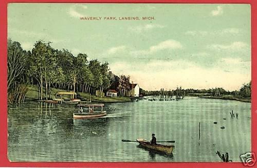 LANSING  MICHIGAN WAVERLY PARK 1909 CANOES POSTCARD