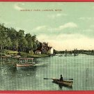 LANSING  MICHIGAN WAVERLY PARK 1909 CANOES POSTCARD
