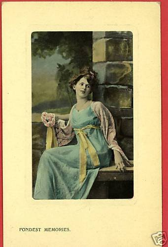 YOUNG WOMAN BENCH  ARTCHROM FONDEST MEMORIES  POSTCARD