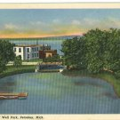 PETOSKEY MICHIGAN MI MINERAL WELL PARK POSTCARD 1951