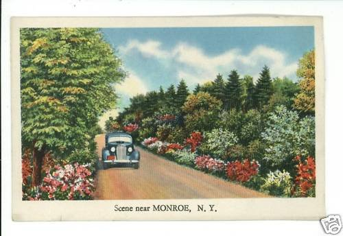 MONROE NY NEW YORK CAR  ROAD SCENE LANDSCAPE POSTCARD