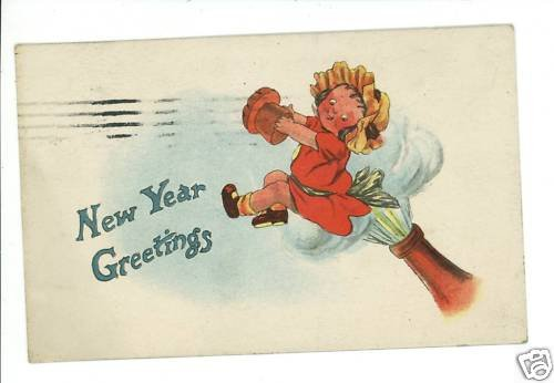 NEW YEAR GIRL COMING OUT OF CHAMPAGNE BOTTLE  POSTCARD