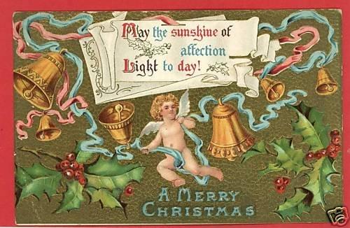 CHRISTMAS BELLS ANGEL HOLLY RIBBON 1910 POSTCARD