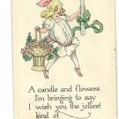 BIRTHDAY GREETING  CANDLE PINK FLOWERS GIRL POSTCARD