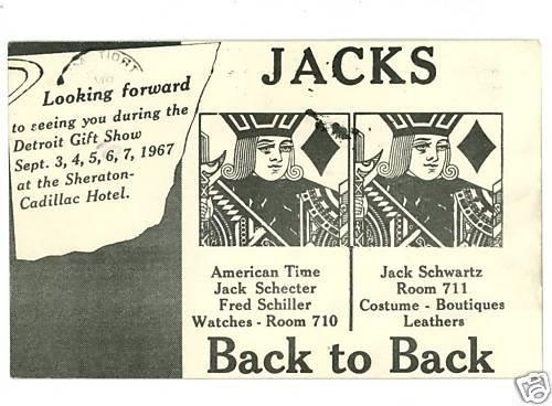 DETROIT MICHIGAN GIFT SHOW JACKS WATCHES  POSTCARD