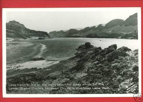 RPPC SOAP LAKE DRY FALLS LAKE LENORE WA WASH 1947 RPPC