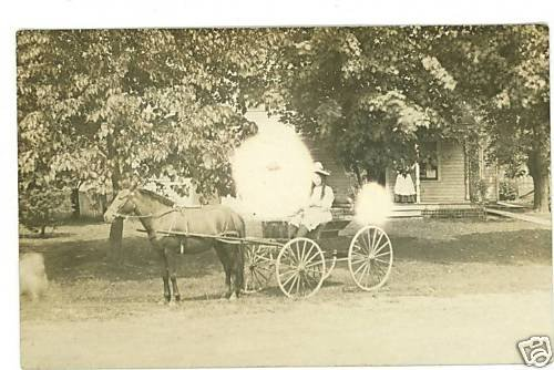 RPPC GIRL DRIVING PONY CART 1912 REAL PHOTO POSTCARD
