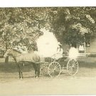 RPPC GIRL DRIVING PONY CART 1912 REAL PHOTO POSTCARD