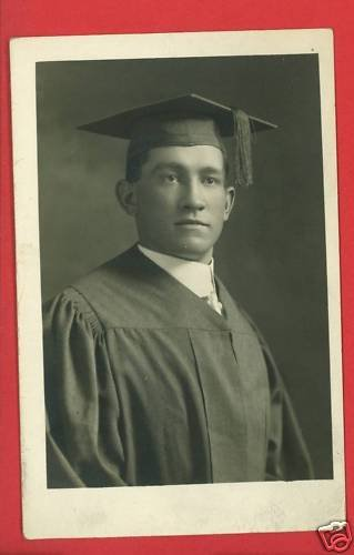RPPC MALE MAN GRADUATE CAP AND GOWN RP POSTCARD