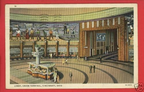 CINCINNATI OH UNION TERMINAL LOBBY DEPOT 1936  POSTCARD