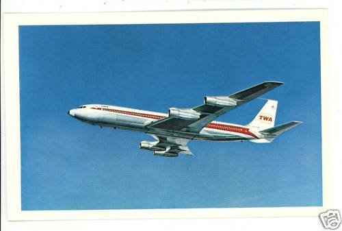 TWA STAR STREAM AIRPLANE JET ADVERTISING   POSTCARD