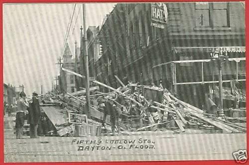 DAYTON OHIO FLOOD FIFTH & LUDLOW BUEHLER HATS  POSTCARD