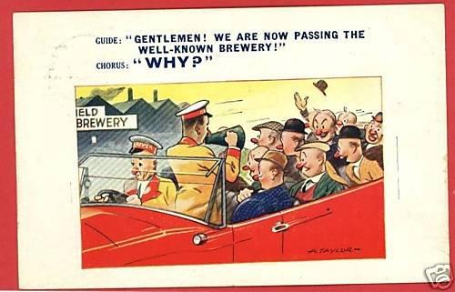 BREWERY DRUNKS COMIC BAMFORTH A. TAYLOR 1940 POSTCARD