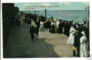 CEDAR POINT OHIO OH BOARD WALK BATHING BEACH  POSTCARD