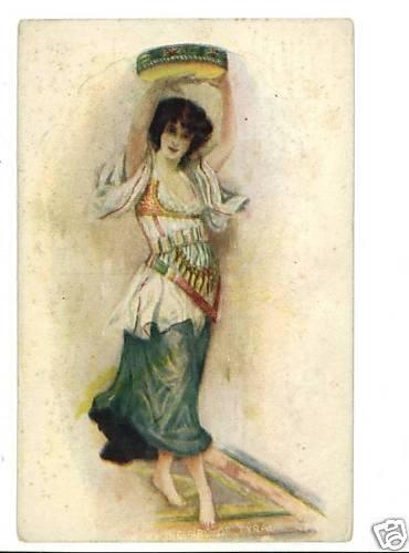 WOMAN DANCING TAMBOURINE   TYRAL   VINTAGE POSTCARD