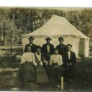 RPPC MEN WOMEN DOG TENT WOODS REAL PHOTO POSTCARD