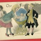 THE FIRST BORN BABY CRADLE BED  CUPID  1912 POSTCARD